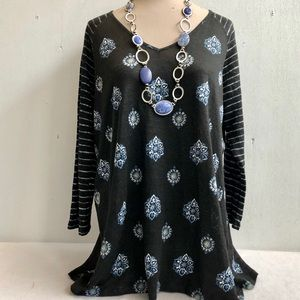J Jill Medallion Print Stripe Linen Sweater Tunic